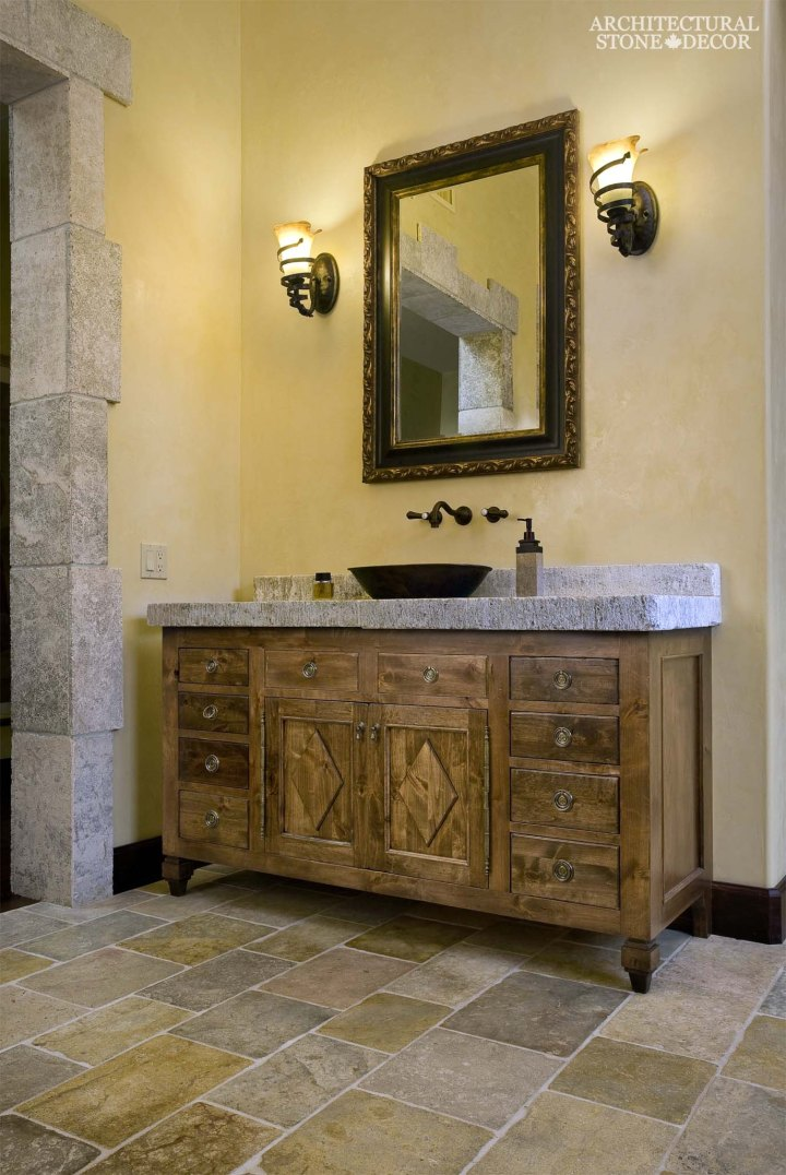 craftsman rustic style tuscan master bathroom reclaimed flooring limestone countertop canada ca
