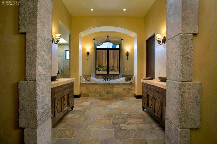 canada ca master bathroom Tuscan rustic style reclaimed antiqued stone flooring cladding