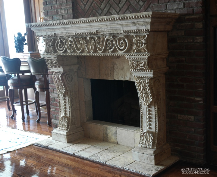 Antique-heavy-hand-carved-stone-fireplace-mantel-canada