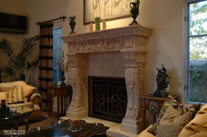 farmhouse-living-room-design-idea-with-heavy-carved-old-antique-stone-fireplace-mantel-canada