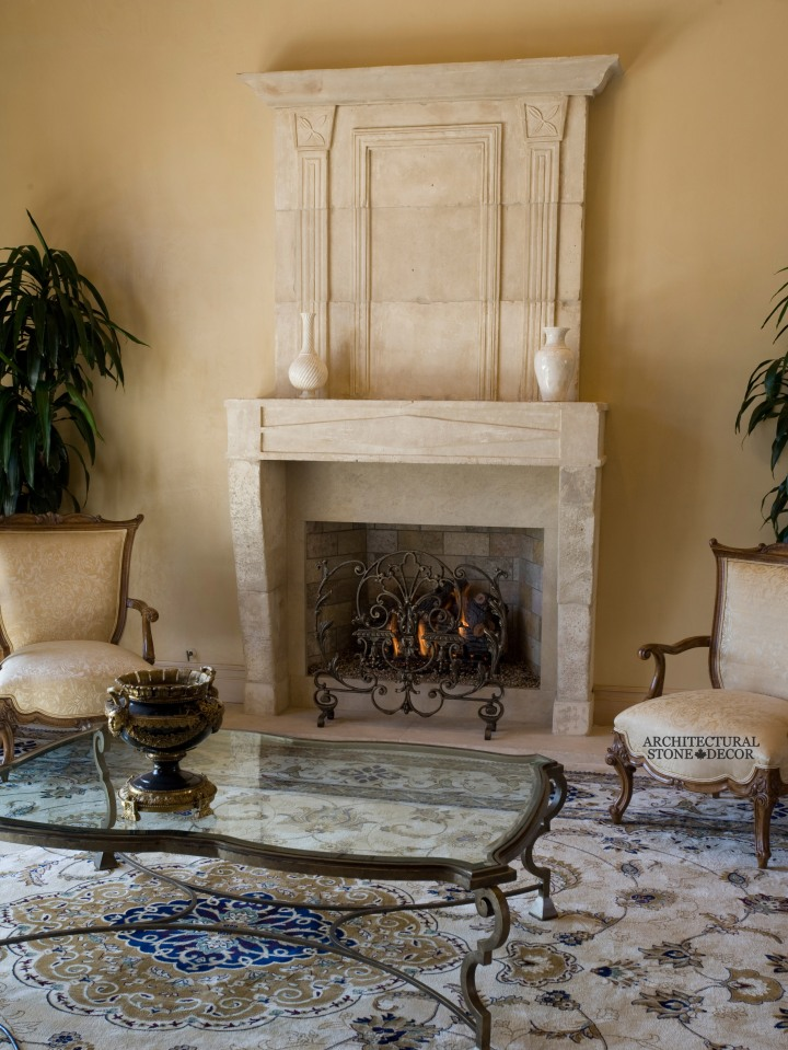 French limestone Stone fireplace mantel with overhead mantel canada ca