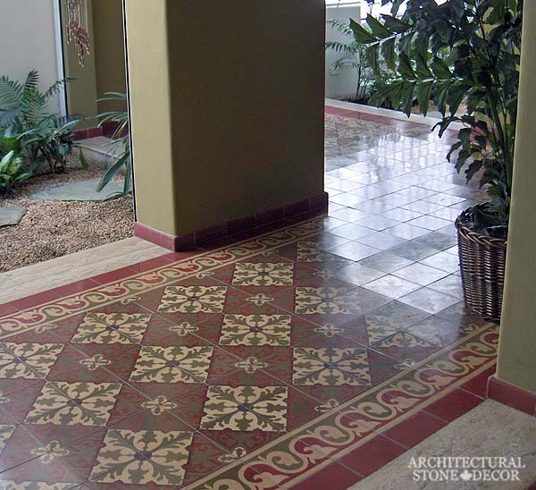 Canada ca Toronto Vancouver reclaimed old french colored cement pavers encaustic tiles flooring home style interior design decor hallway