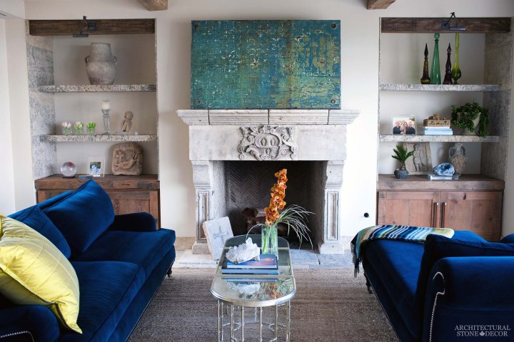 Mediterranean style home reclaimed rustic old natural stone limestone living room fireplace mantel shelves canada ca Toronto BC