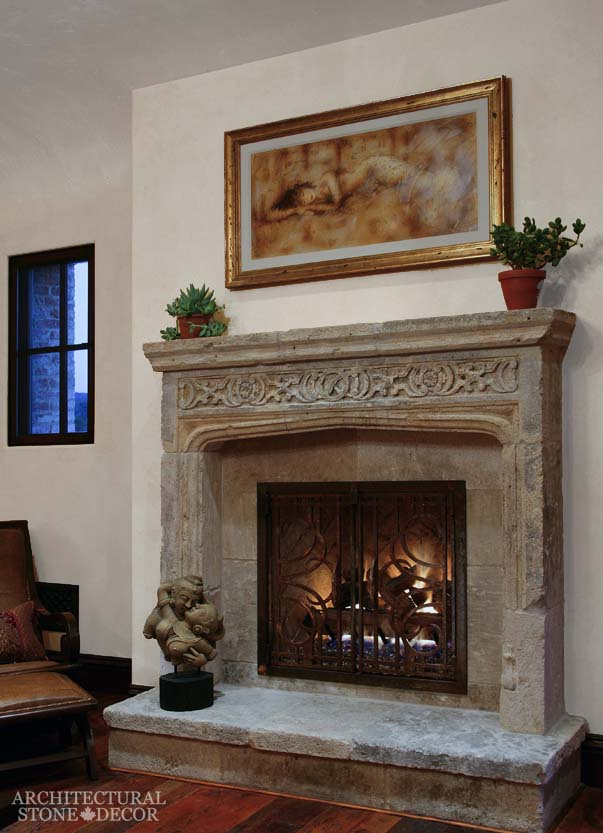 Mediterranean style home antiqued reclaimed rustic old natural stone limestone hand carved fireplace mantel canada ca Toronto BC