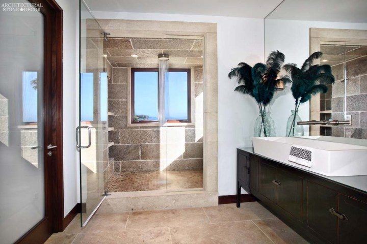 canada toronto vancouver BC CA UK coastal Mediterranean style home villa bathroom shower interior design home décor salvaged reclaimed rustic antique natural stone limestone flooring tiles