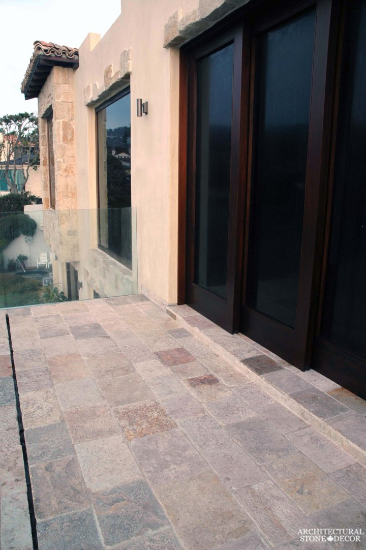 canada toronto vancouver BC CA UK coastal Mediterranean style home villa terrace balcony interior design home décor salvaged reclaimed rustic antique natural stone limestone flooring tiles