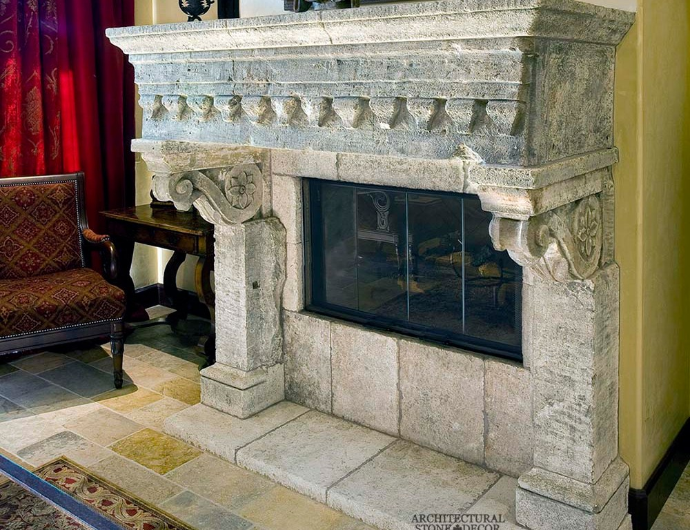 canada toronto vancouver BC CA UK style home villa interior design home décor salvaged reclaimed rustic antique natural stone hand carved limestone fireplace mantel Dalle de Bourgogne flooring tiles