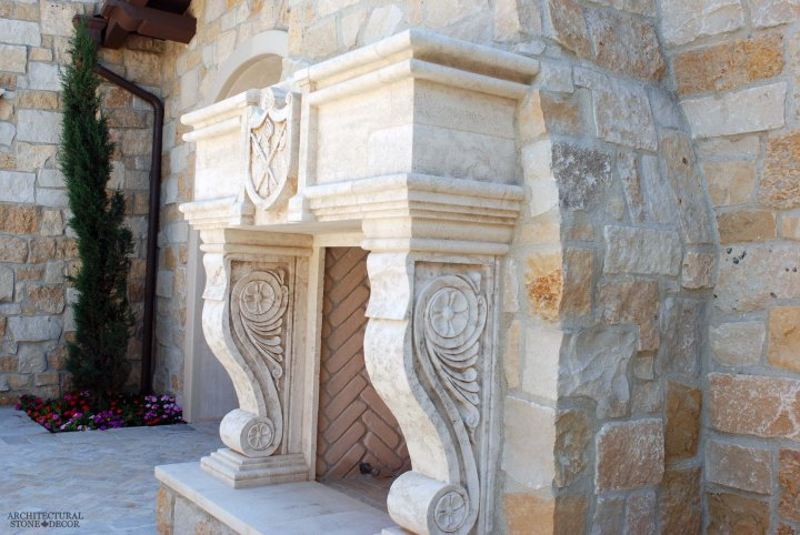canada toronto vancouver BC CA UK style home villa interior design home decor salvaged reclaimed rustic antique natural stone hand carved Italian limestone fireplace mantel