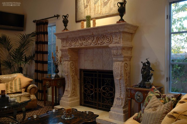 canada toronto vancouver BC CA UK style home villa interior design home decor salvaged reclaimed rustic antique natural stone hand carved Torricelli limestone fireplace mantel