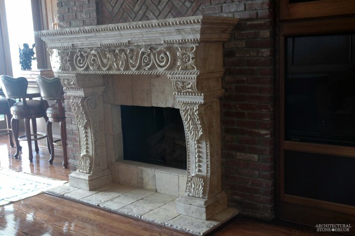 canada toronto vancouver BC CA UK style home villa interior design home decor salvaged reclaimed rustic antique natural stone hand carved limestone Torricelli Italian fireplace mantel