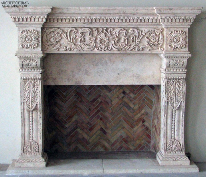 canada toronto vancouver BC CA UK style home villa interior design home decor salvaged reclaimed rustic antique natural stone hand carved limestone fireplace mantel