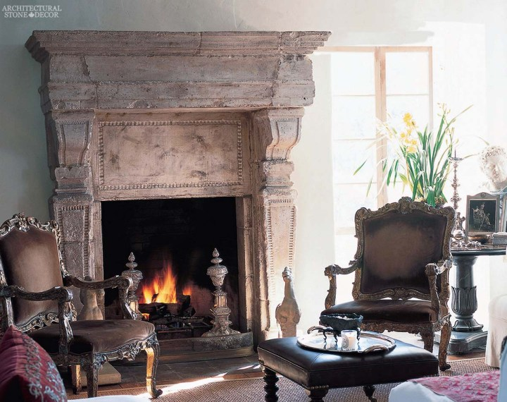 canada toronto vancouver BC CA UK style home villa interior design home decor salvaged reclaimed rustic antique natural stone hand carved limestone French fireplace mantel