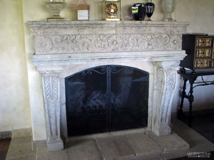 canada toronto vancouver BC CA UK style home villa interior design home decor salvaged reclaimed rustic antique natural stone hand carved Italian style limestone fireplace mantel
