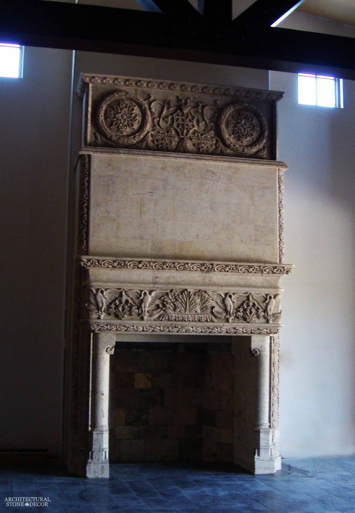 canada toronto vancouver BC CA UK style home villa interior design home décor salvaged reclaimed rustic antique natural stone hand carved limestone fireplace mantel overhead mantel
