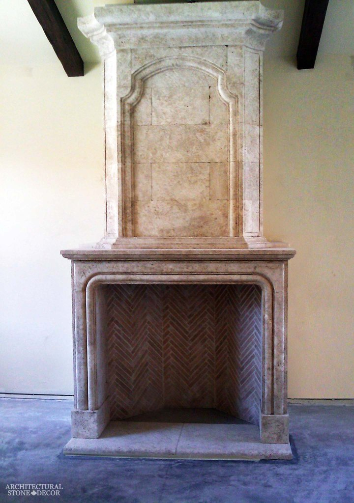 canada toronto vancouver BC CA UK style home villa interior design home decor salvaged reclaimed rustic antique natural stone hand carved limestone fireplace mantel overhead mantel