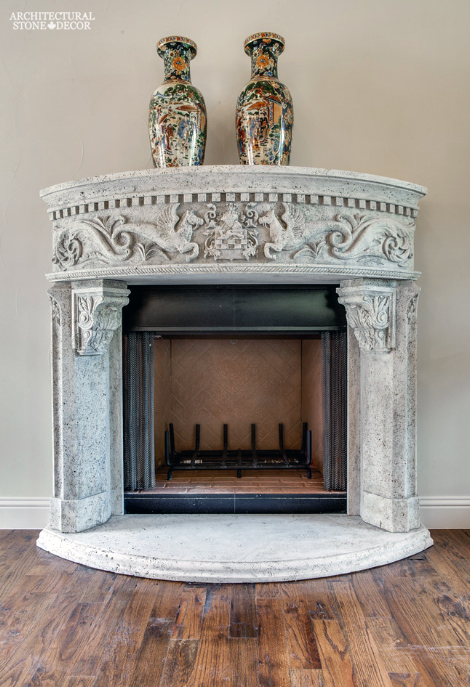 canada toronto vancouver BC CA UK style home villa interior design home décor salvaged reclaimed rustic antique natural stone hand carved limestone Asian fireplace mantel