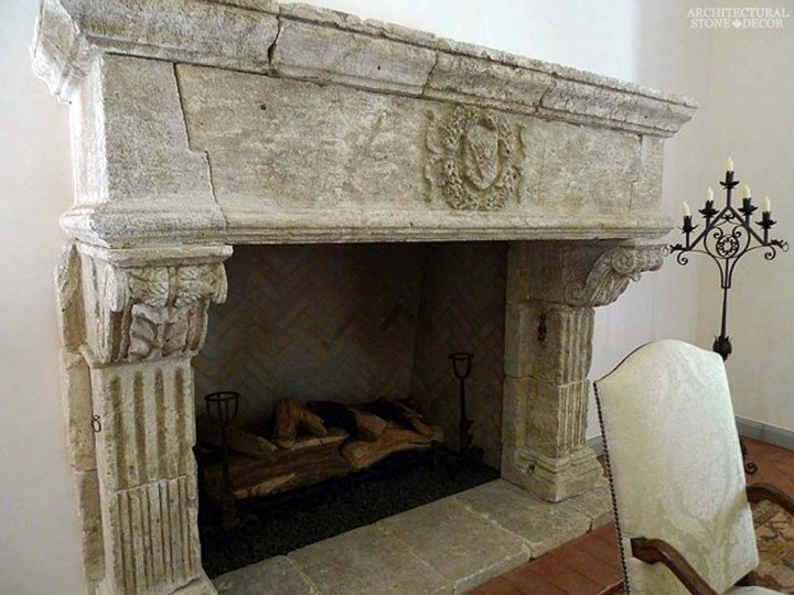 canada toronto vancouver BC CA UK style home villa interior design home décor salvaged reclaimed rustic antique natural stone hand carved Gothic limestone fireplace mantel