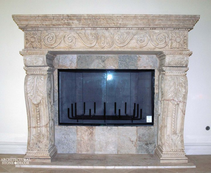 canada toronto vancouver BC CA UK style home villa interior design home décor salvaged reclaimed rustic antique natural stone hand carved limestone Toricelli fireplace mantel
