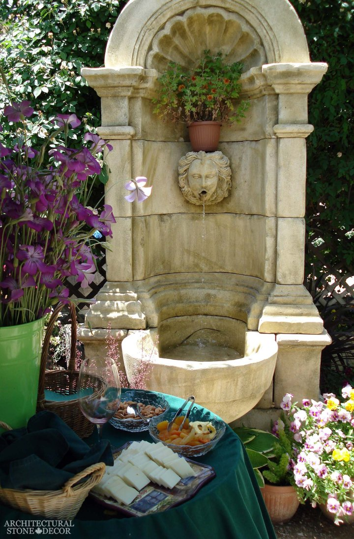 Rustic reclaimed old hand carved Tuscan Italian Mediterranean limestone natural stone wall fountain ca canada UK USA Australia arched