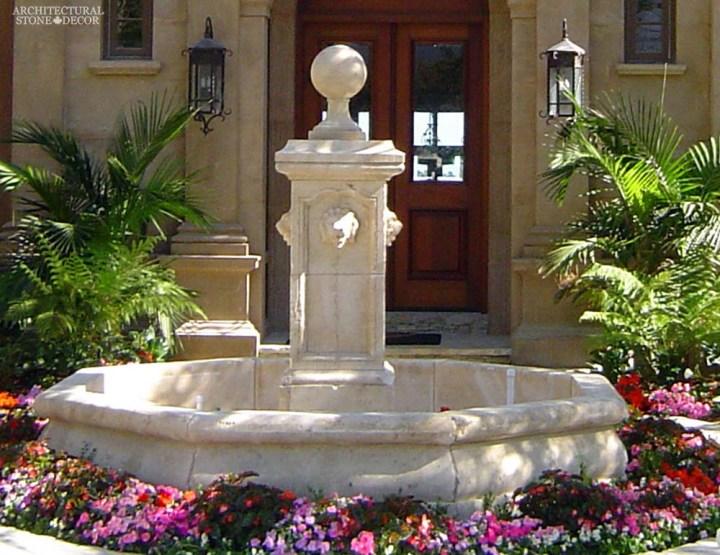 Rustic reclaimed old hand carved Tuscan Italian Mediterranean limestone natural stone pool fountain ca canada UK USA Singapore