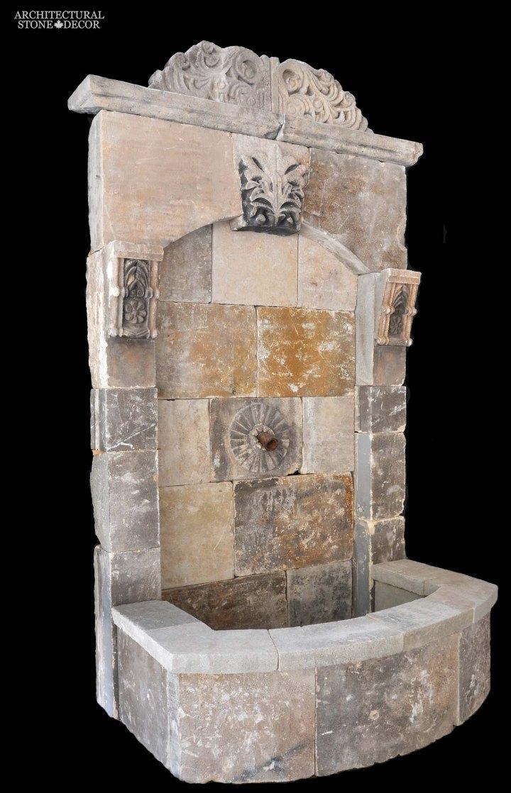 Rustic reclaimed old hand carved Tuscan Italian Mediterranean limestone natural stone wall fountain ca canada UK USA Singapore Qatar