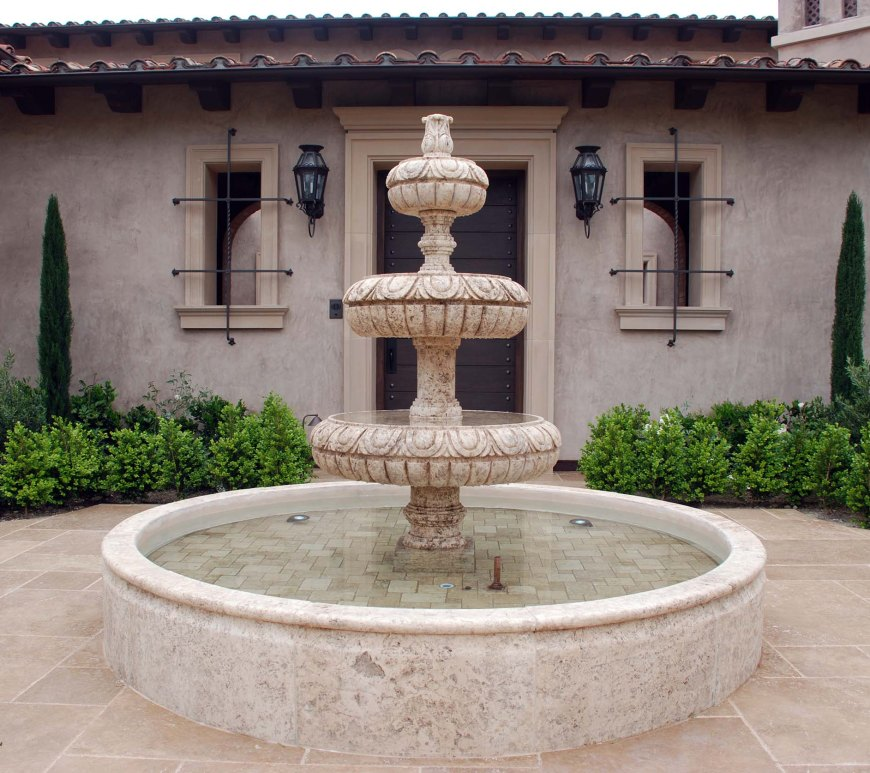 Rustic reclaimed old hand carved Tuscan Italian Mediterranean limestone natural stone pool fountain ca canada UK USA Singapore Qatar