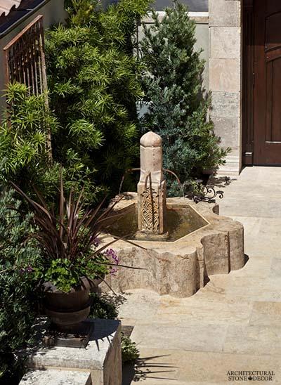 Rustic reclaimed old hand carved Tuscan Italian Mediterranean limestone natural stone pool fountain ca canada UK USA Singapore Qatar