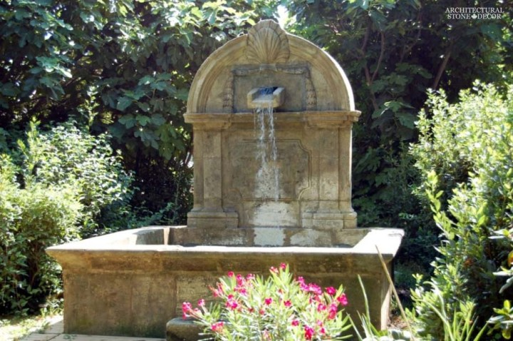Rustic reclaimed old hand carved Tuscan Italian Mediterranean limestone natural stone wall fountain garden ca canada UK USA Singapore Qatar