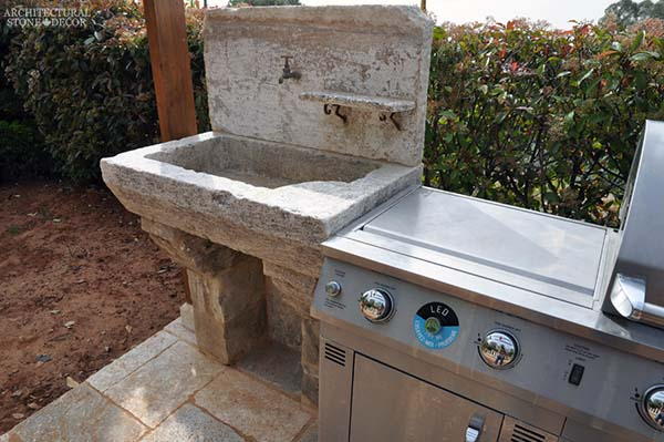 Rustic reclaimed old hand carved limestone natural stone sink outdoor kitchen terrace garden backyard ca canada