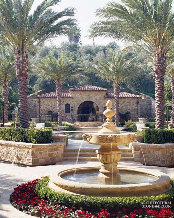 Tuscan Mediterranean Rustic reclaimed old hand carved limestone natural stone pool fountain terrace garden backyard ca canada usa