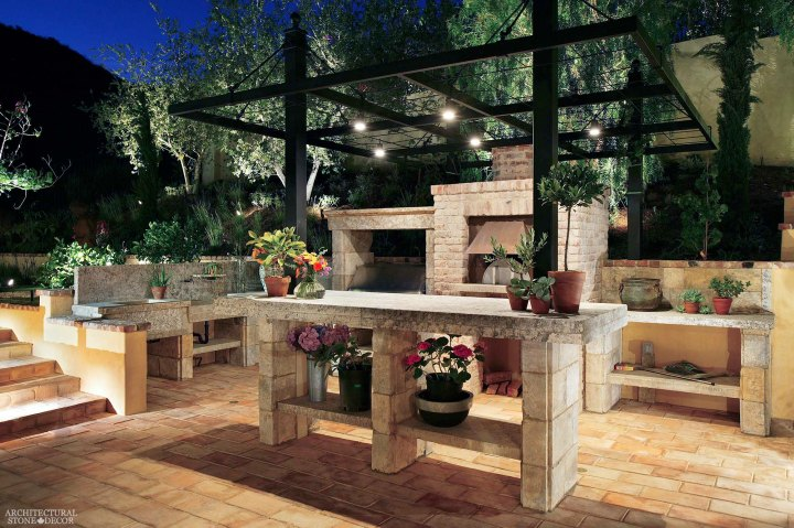 Rustic reclaimed old hand carved limestone natural stone sink outdoor kitchen barbecue bbq countertops terrace garden backyard ca