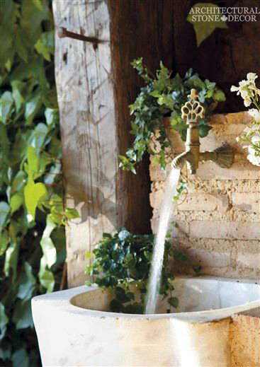 Rustic reclaimed old hand carved limestone natural stone sink outdoor kitchen terrace garden backyard ca canada USA