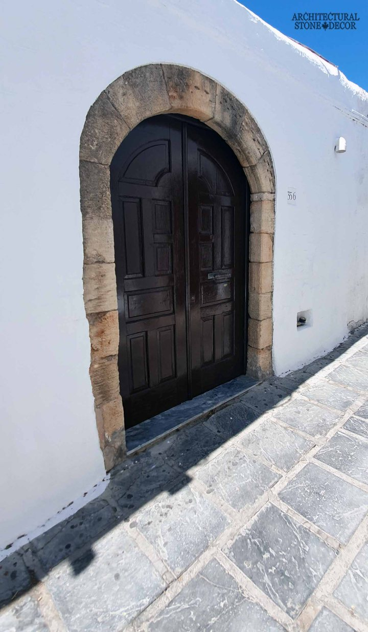 Greek style rustic reclaimed hand carved old antique stone barre montpelier door surround entryway basalt flooring home décor design limestone natural stone ca canada UK USA