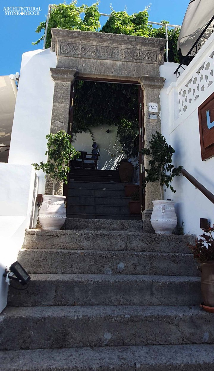 old stone entryway stairs