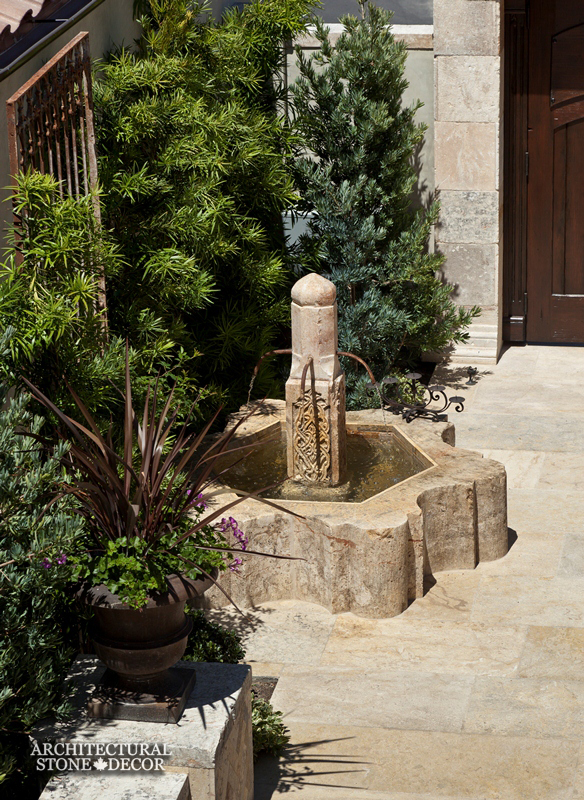 Antique installed outdoor limestone pool fountain canada architectural stone decor