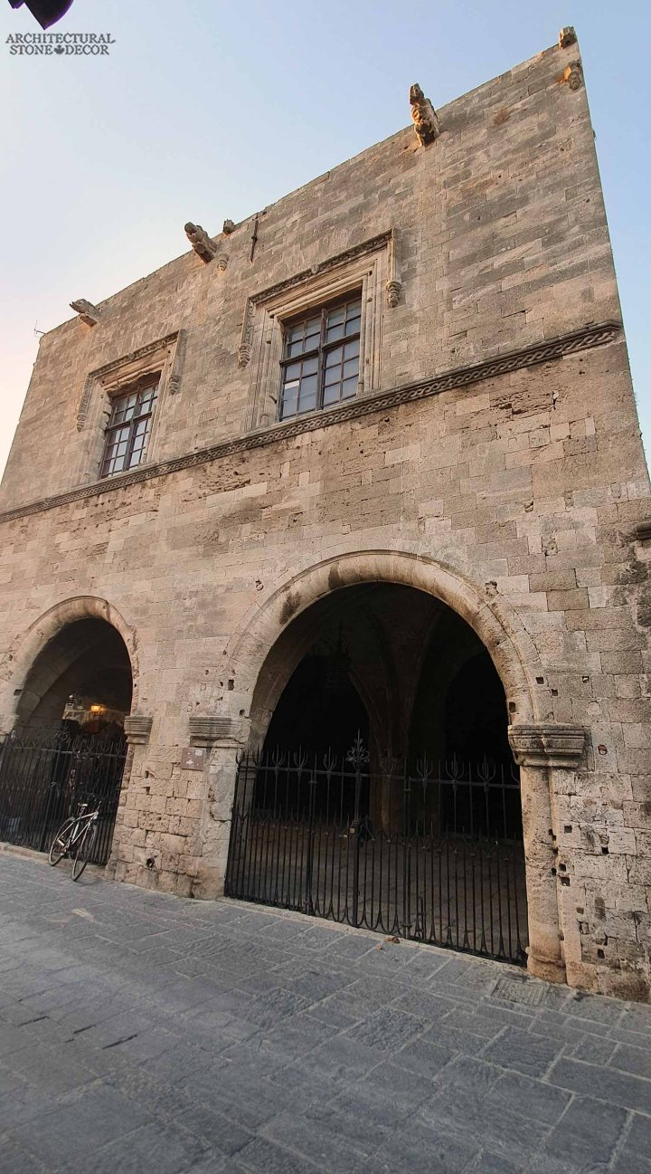 old town Rhodes natural stone wall cladding architecture home interior design Medieval style ca BC canada
