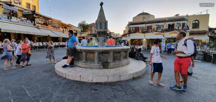 Mediterranean style old town Rhodes natural stone pool fountain architecture interior design ca BC canada