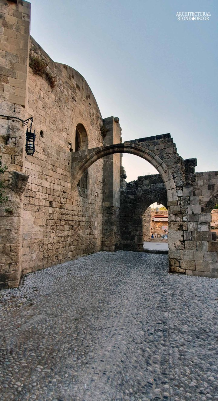 Mediterranean style old town Rhodes natural stone exterior cladding arch architecture home interior design ca BC canada