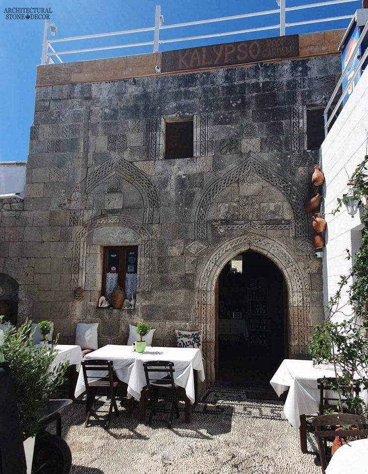 Mediterranean style old town Rhodes natural stone exterior cladding architecture home interior design ca BC canada