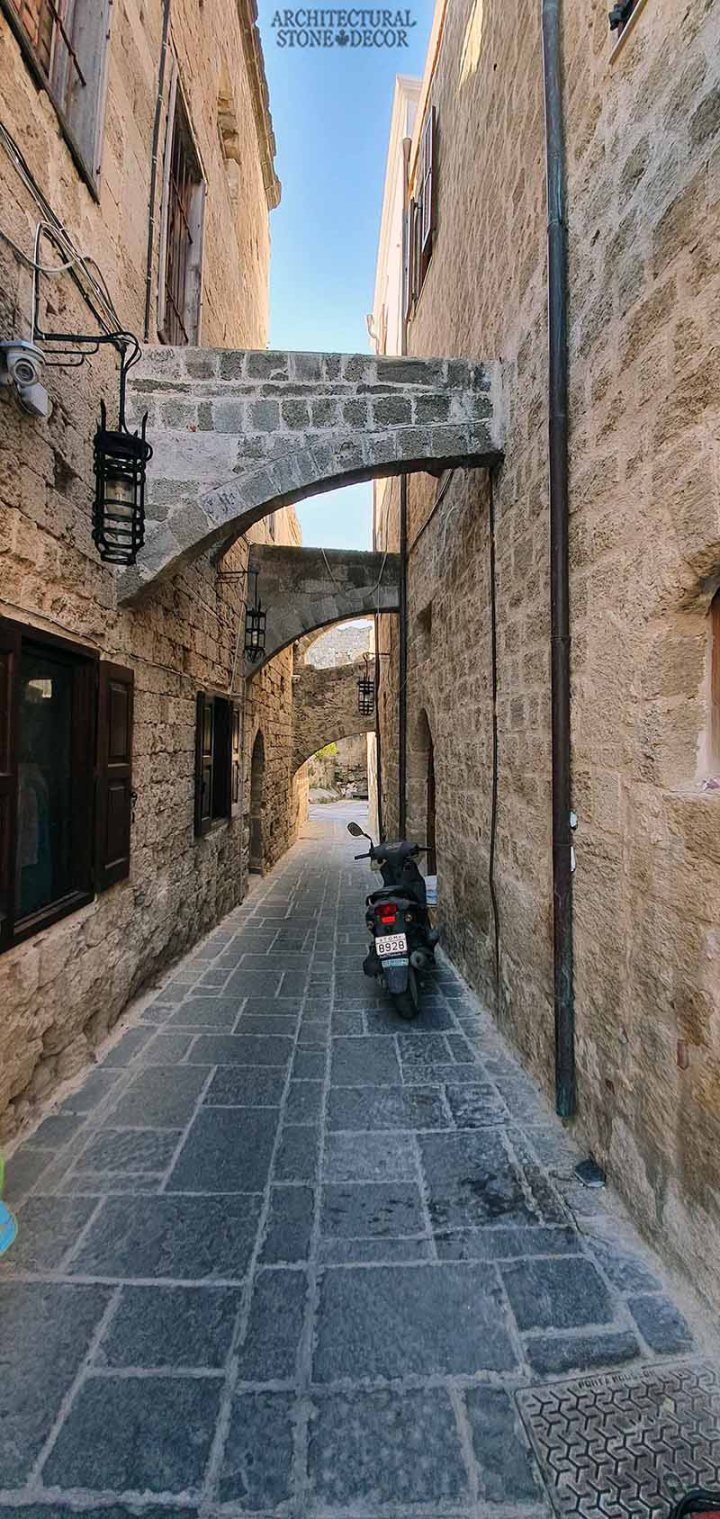 Mediterranean style old town Rhodes natural stone exterior cladding architecture home interior design ca BC canada