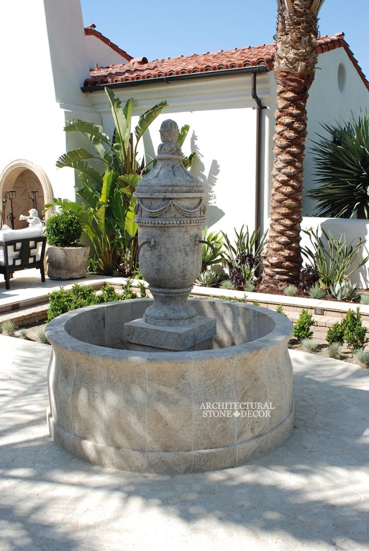 OUtdoor courtyard limestone pool fountain canada architectural stone decor