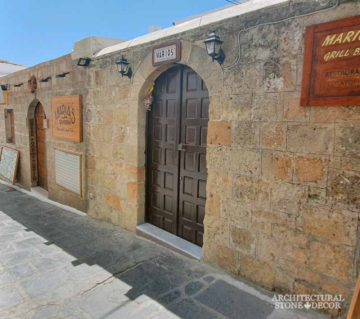 old town Rhodes natural stone cladding architecture home interior design Medieval style ca BC Canada