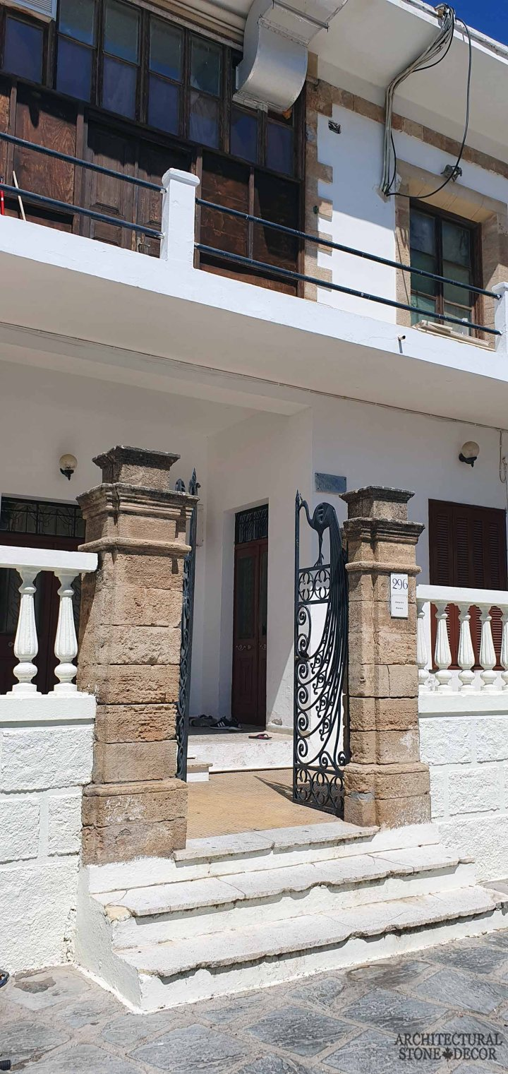 Mediterranean style old town Rhodes natural stone entrance columns architecture home interior design ca BC canada