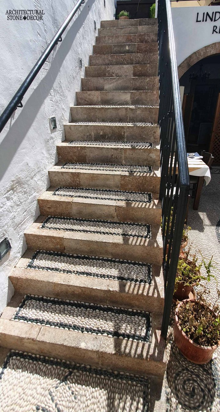 Grecian Mediterranean style old town Rhodes natural stone stair steps architecture interior design ca BC canada