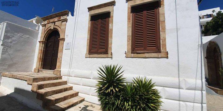 Mediterranean style old town Rhodes natural stone stair steps window surround entryway architecture interior design ca BC canada