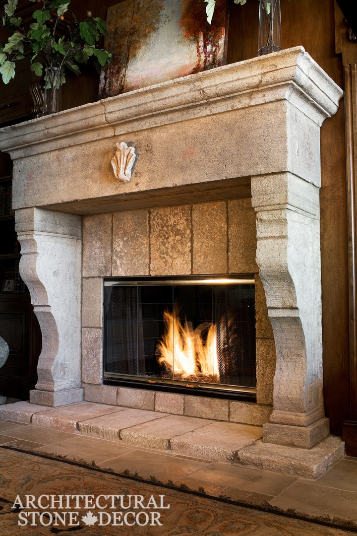 Hand carved reclaimed old world interior design natural stone limestone fireplace mantel home decor canada ca uk usa