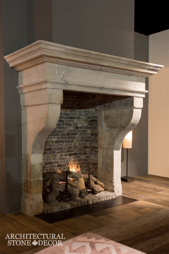 Hand carved reclaimed antiqued old world interior design natural stone limestone fireplace mantel home decor Canada CA UK USA BC