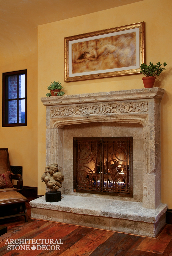 Hand carved reclaimed antiqued interior design natural stone limestone fireplace mantel home decor canada ca uk usa
