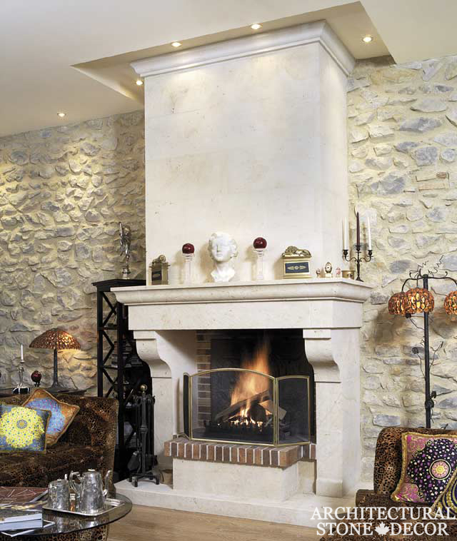 Hand carved Mediterranean natural stone limestone fireplace mantel interior design home decor canada ca uk usa