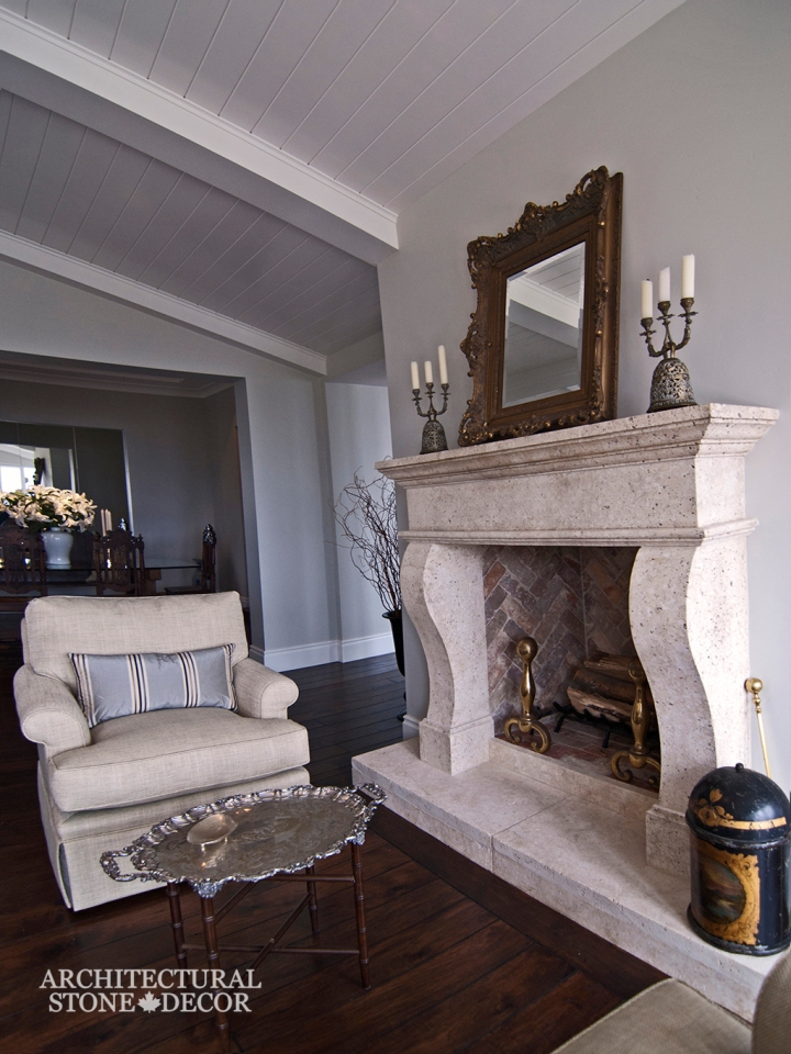 Hand carved French country natural stone limestone fireplace mantel interior design home decor canada ca uk usa